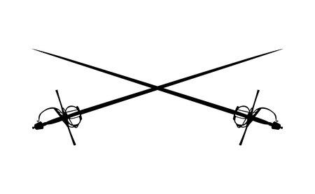 Two crossed rapier swords logo symbol
