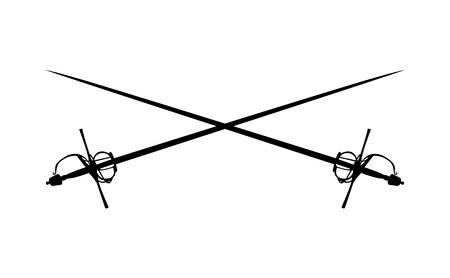 Two crossed rapier swords logo symbol