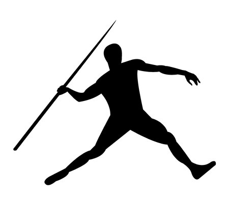 Man throwing a javelin spear vector illustration.