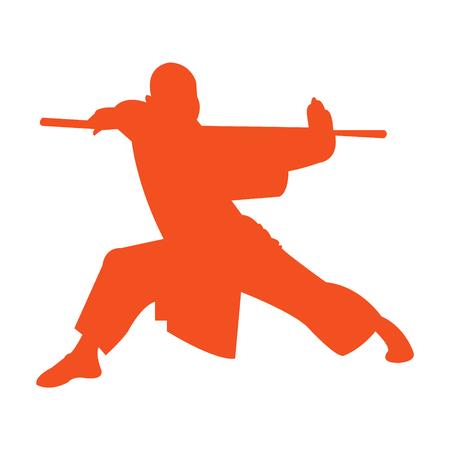 Shaolin monk kung fu silhouette