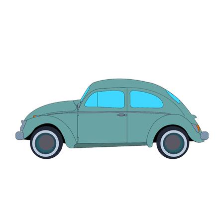 Vintage beetle car Иллюстрация