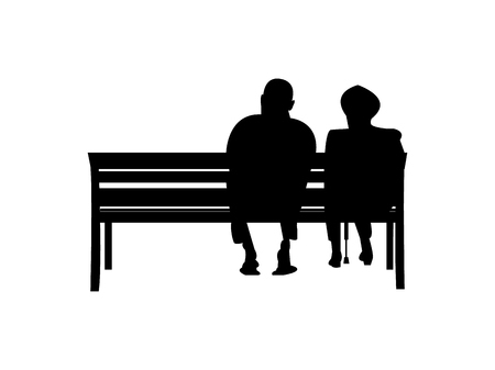 Old couple sitting on a bench Vector illustration.