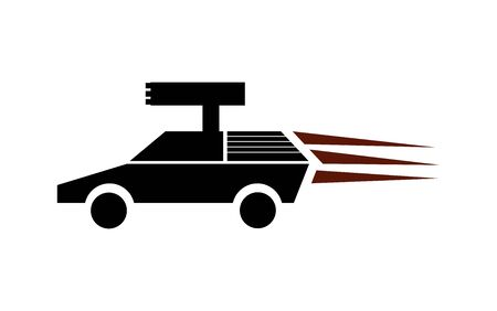 Fast car with a mounted rocket launcher