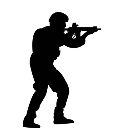 Marine soldier with firearm silhouette