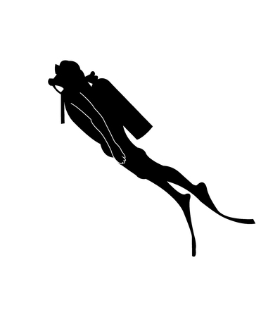 Scuba diver black silhouette vector illustration