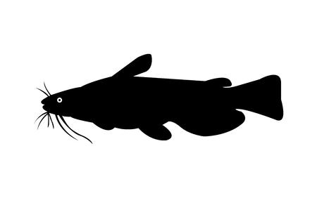 Bullhead meerval silhouet. Stock Illustratie