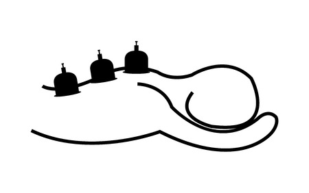 Hijama therapy of cupping illustration Vettoriali