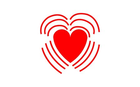 Simple, flat icon of a beating heart. Illustration