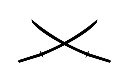 Two katana swords crossed as an emblem