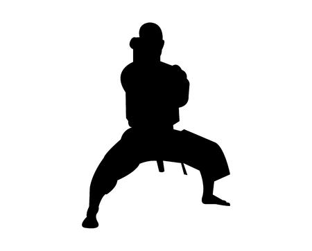 Strong karateka in a stance Vector illustration. Illustration