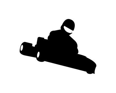 Black racing kart silhouette Illustration