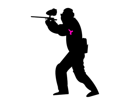 Man with a paintball gun silhouette