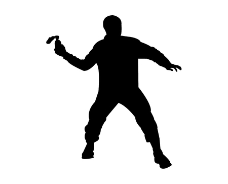 Person throwing something silhouette