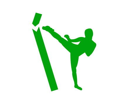 Kickboxer breaking a wooden poll silhouette Vector illustration.