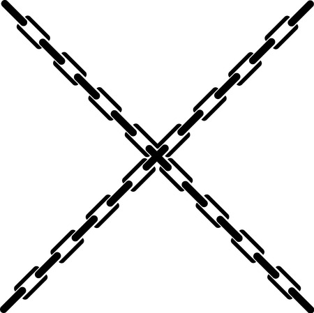 Crossed chains vector illustration on white background.
