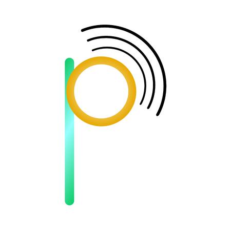 Letter p wifi illustration on white background.