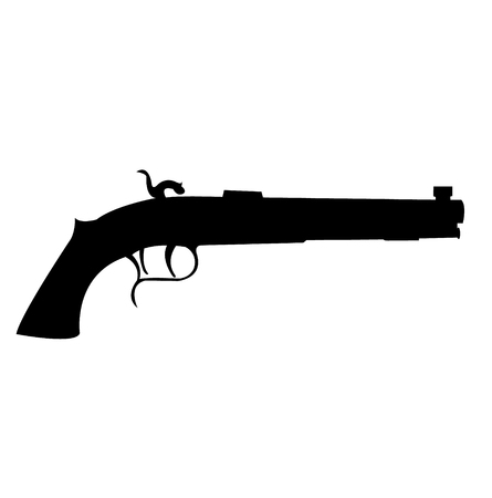 Old and vintage gun silhouette isolated on plain background.