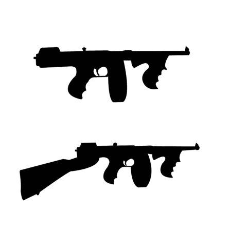 Twee oude vintage maffia geweren Vector illustratie. Stock Illustratie