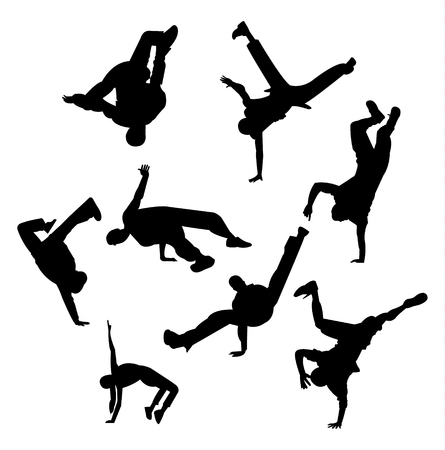 Break dance poses and figures silhouettes