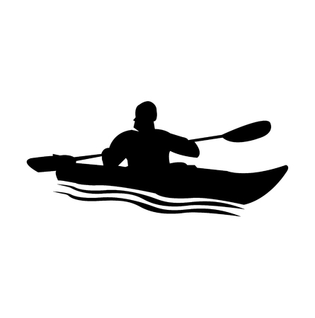 Person in a kayak silhouette Vectores