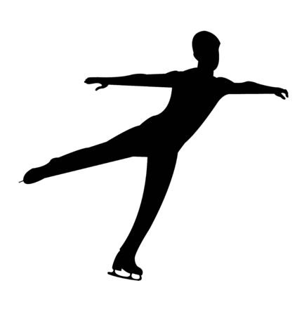 Young figure skating man silhouette