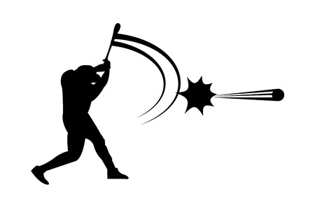 Baseball player hits a ball silhouette