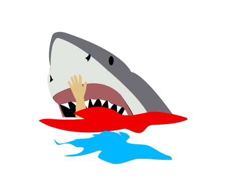 Person being eaten by a big white shark Vector illustration.