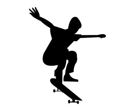 Skater jumping on a skateboard