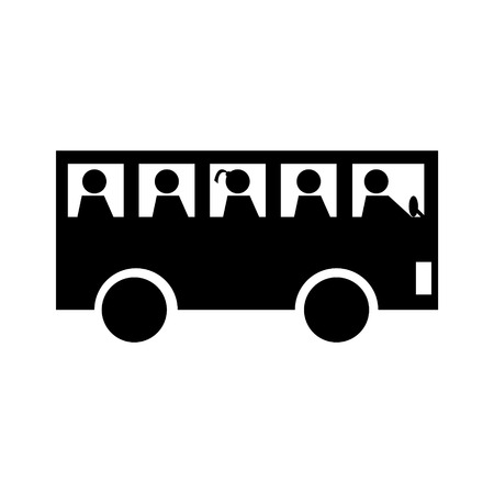 Bus with passengers icon illustration.