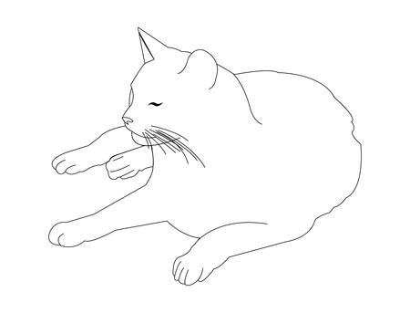 Cartoon line art of a cat lying down Illustration