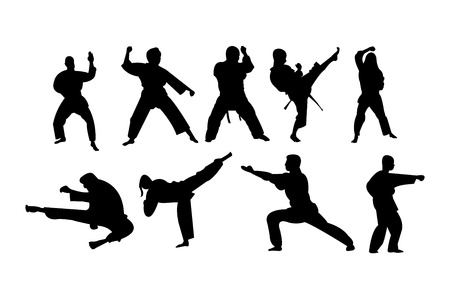Karate stances, punches and kicks illustration.