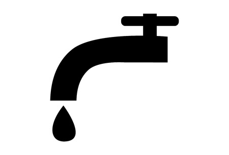 Simple faucet with a water drop icon Illustration