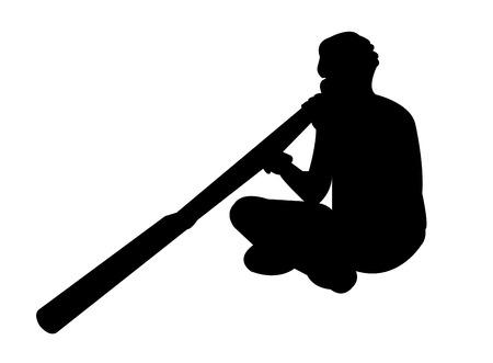 Aborigine man playing a didgeridoo Иллюстрация