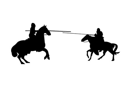 Knights charging at each other on horses silhouette