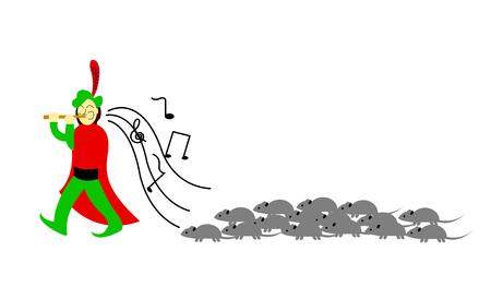 Pied piper of Hamelin cartoon