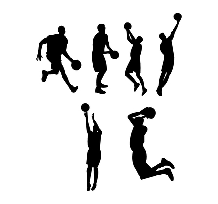 Basketball playing silhouettes