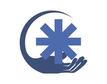 Hand holding an emergency star medical sign Stock Illustratie