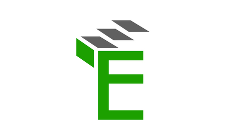 E letter with stairs logo