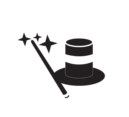 Top hat and magic wand Illustration