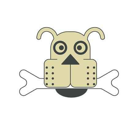 Dog head with a bone