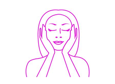 Beautiful young woman applies skincare Ilustração