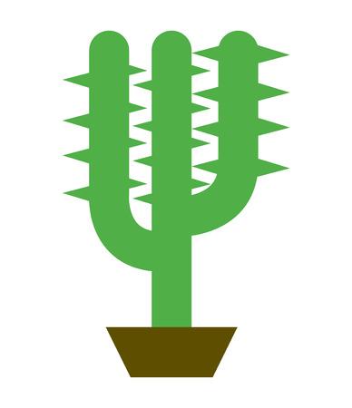 Cactus in a plant pot cartoon illustration