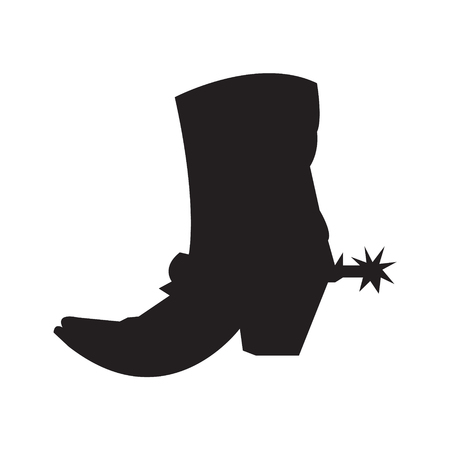 Cowboy boot with a spur silhouette Illustration