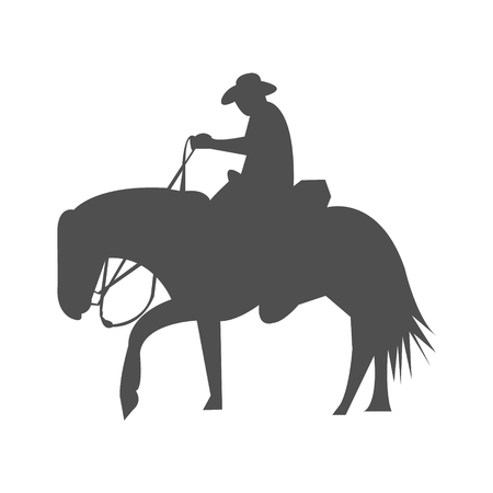 Cowboy riding a horse silhouette 向量圖像