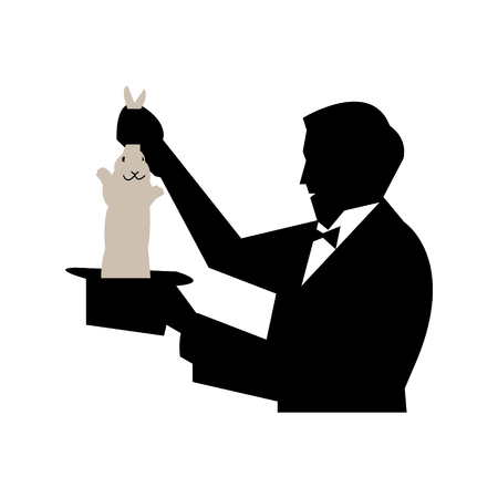 Magician pulling out a rabbit from his hat