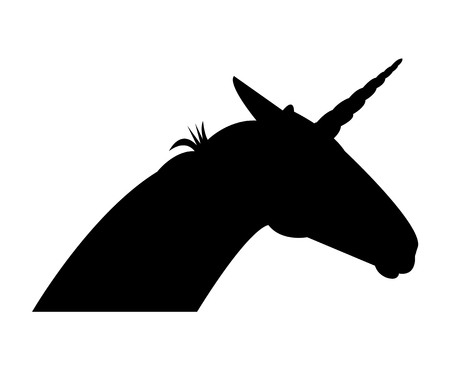 Black unicorn head silhouette