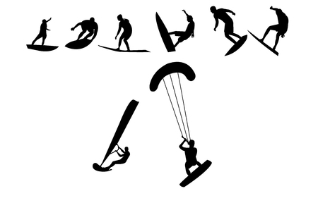Surfing positions silhouettes Illustration
