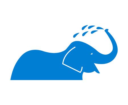 Elephant taking a bath icon
