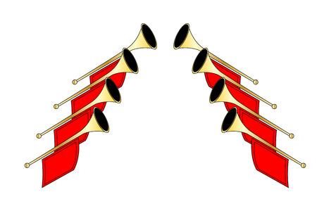 Golden fanfare trumpets Ilustração