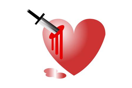 corazón herido con un cuchillo